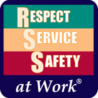 Respect, Service, and Safety at Work Pins image